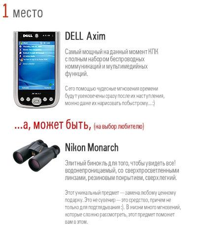 Приз за 1 место: КПК DELL Axim или бинокль Nikon Monarch (на выбор победителя)