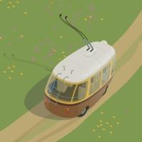 Троллейбус катится по полю