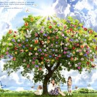 цветущее дерево, сказочное дерево, дерево, рай, сказка, мечта, фантазия, коллаж, обои, обои для рабочего стола