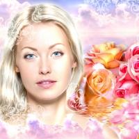 девушка, розы, обои, коллаж, красота, девственность, фотопортрет, лицо девушки, красавица, сказка, романтика
