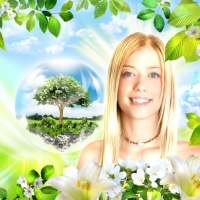 юность, весна, оптимизм, позитив, радость, девушка, фотопортрет, дерево, коллаж, обои, обои для рабочего стола, лицо молодой девушки, красивая девушка