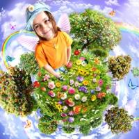 девочка на планете, девочка на планете с цветами, девочка улыбается обои, коллаж девочка и планета, волшебный мир коллаж, сказка коллаж, летающая планета коллаж, летающая планета с девочкой, летающая планета с девочкой коллаж