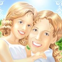 мама с дочкой, векторная иллюстрация мама с дочкой, материнство, мать и дитя, мать и ребёнок, векторный портрет мамы и дочки, векторная иллюстрация мама с дочкой улыбаются, вектор мама улыбается с ребёнком