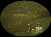 Charles Corbet, Two girls - c. 1910, autochrome 9 x 12