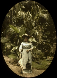 Charles Corbet , Woman in greenhouse - c. 1910, autochrome 12 x 9