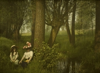 Charles Corbet, Woman and girl by a brook - c. 1910, autochrome 9 x 12