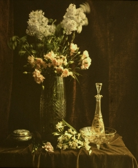 Charles Corbet, Dish, vase and decanter - c. 1910, autochrome 10 x 8,5
