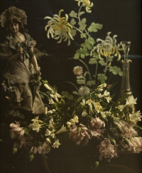 Charles Corbet, Still life with statuette and carnations    c. 1910, autochrome 10 x 8,5