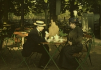 Charles Corbet, Mrs. Corbet and Mr. Sano having afternoon tea    c. 1910, autochrome 9 x 12