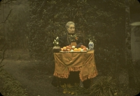 Paul Sano, Lady and fruit dish    c. 1920, autochrome 9 x 12