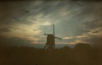 Alfonse Van Besten, Windmill at twilight    c.1913, autochrome 9x12