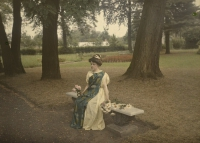 Alfonse Van Besten, Lady on gardenbench with flowers    1912, autochrome 9 x 12
