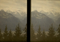 Paul Sano, Tree tops and mountain tops    c. 1912, stereo autochrome 9 x 12