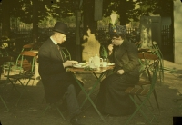 Paul Sano, Mrs. & Mr. Corbet having afternoon tea    c. 1910, autochrome 9 x 12, Compare with similar autochrome of Charles Corbet