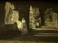 Alfonse Van Besten, Veilled lady in abbeyruins    c. 1910, autochrome 9 x 12