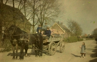 Alfonse Van Besten, Farmers on cart   c. 1912, autochrome, 9 x 12