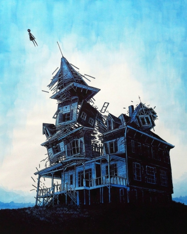 """""""escape.""""  october 2011.     watercolored silkscreen edition of 3"""