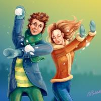 Алексей Петюк, зима, снежки, парень и девушка