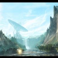 3d vue waterfall render nature sky clouds